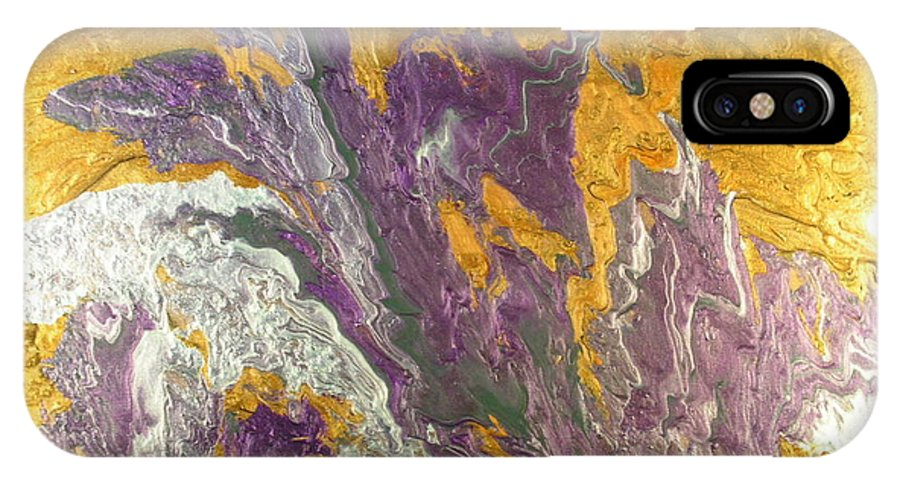 Abstract IPhone X Case featuring the painting Desert Flower by Patrick Mock