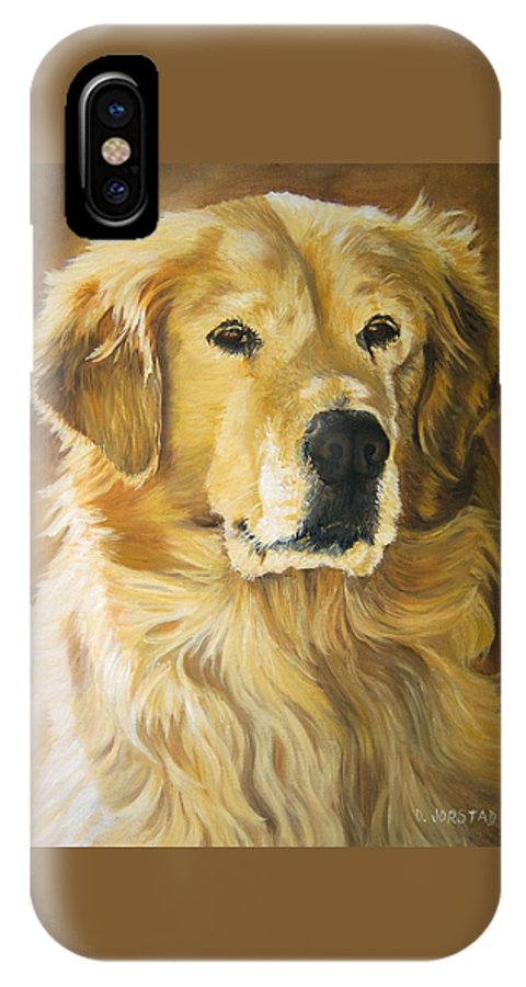 'dog Oil Painting Artist IPhone X Case featuring the painting dog Golden Retriever print pet portrait commission painting hire artist by Diane Jorstad