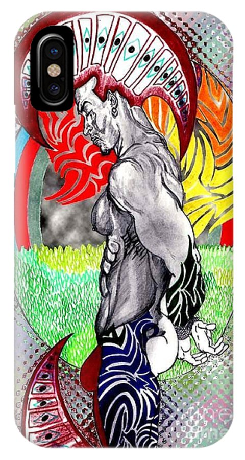 Male IPhone X Case featuring the drawing Don't Take My Mind On A Trip-jan. 23, 2007 by Antonio Tonyboy Garrett
