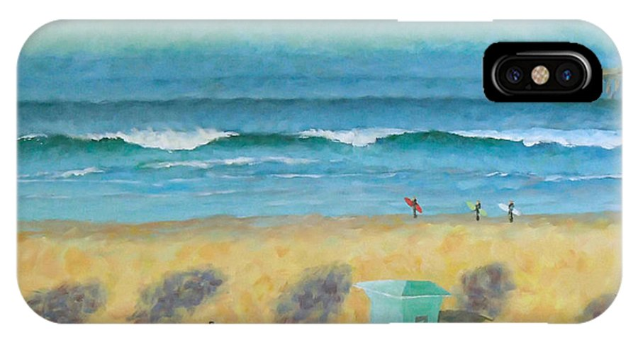 Life Guard Tower IPhone X Case featuring the painting Tower Number Seven by Philip Fleischer