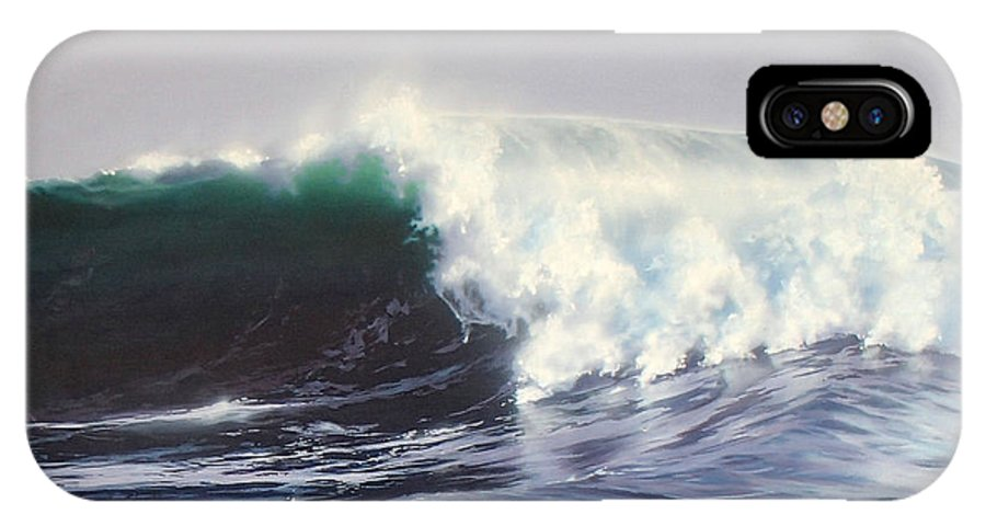 Surf Painting IPhone X Case featuring the painting Eight Foot At Newport by Philip Fleischer