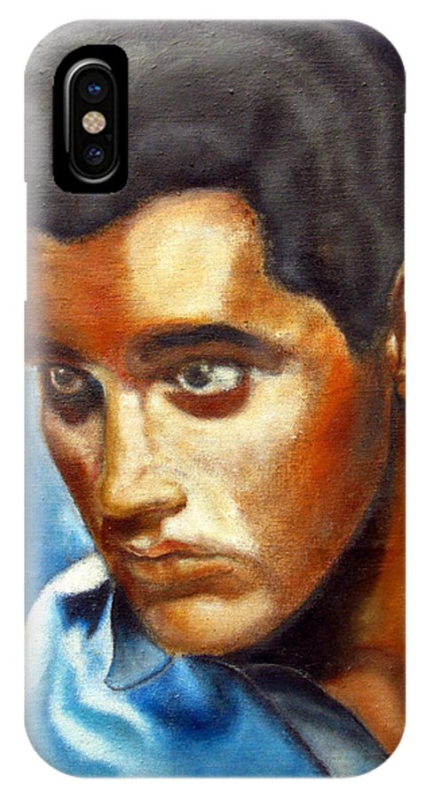 Elvis IPhone X Case featuring the painting Elvis Presley - moody blue by Tom Conway