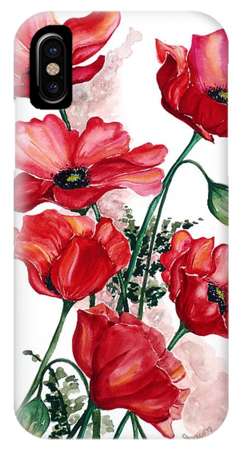 Original Watercolor Of English Field Poppies Painted On Arches Watercolor Paper IPhone X Case featuring the painting English Field Poppies. by Karin Dawn Kelshall- Best