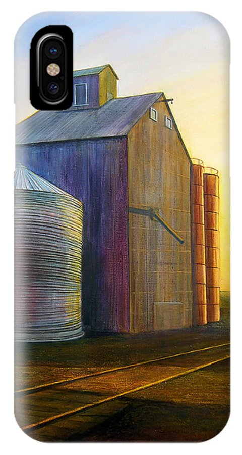 Silos IPhone X Case featuring the painting Estes Road Twilight by Leonard Heid