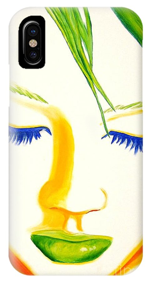 Woman IPhone X Case featuring the painting Face Forward by Holly Picano