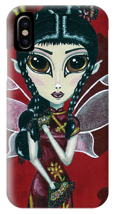 Fairy IPhone X Case featuring the painting Fairy Of The Fans by Bronwen Skye