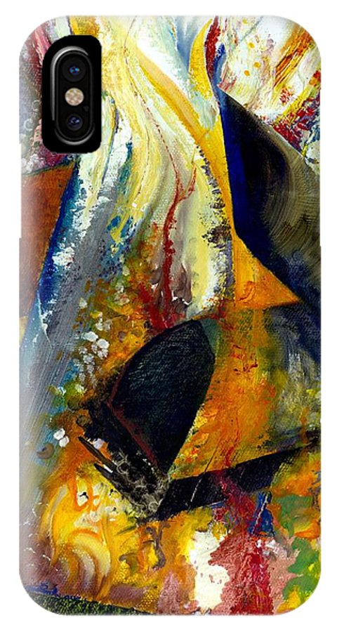 Rustic IPhone X Case featuring the painting Fire Abstract Study by Michelle Calkins