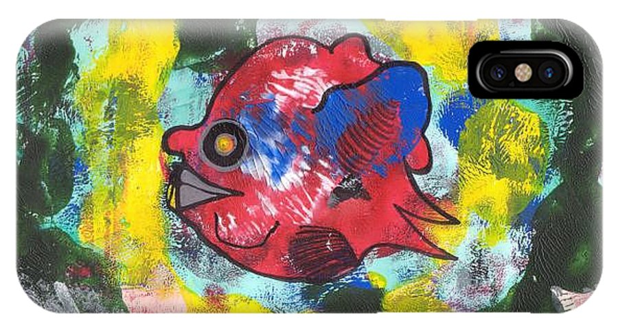 Fish IPhone X Case featuring the painting Fish Seeks Fish by Michael Puya