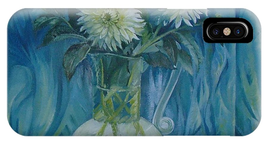 Still Life IPhone X Case featuring the painting Flowers in glass vase by Elena Oleniuc