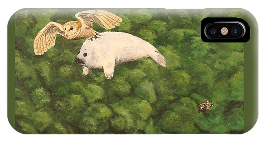 Seal IPhone X Case featuring the painting Flying Seal Pup by Michelle Miron-Rebbe