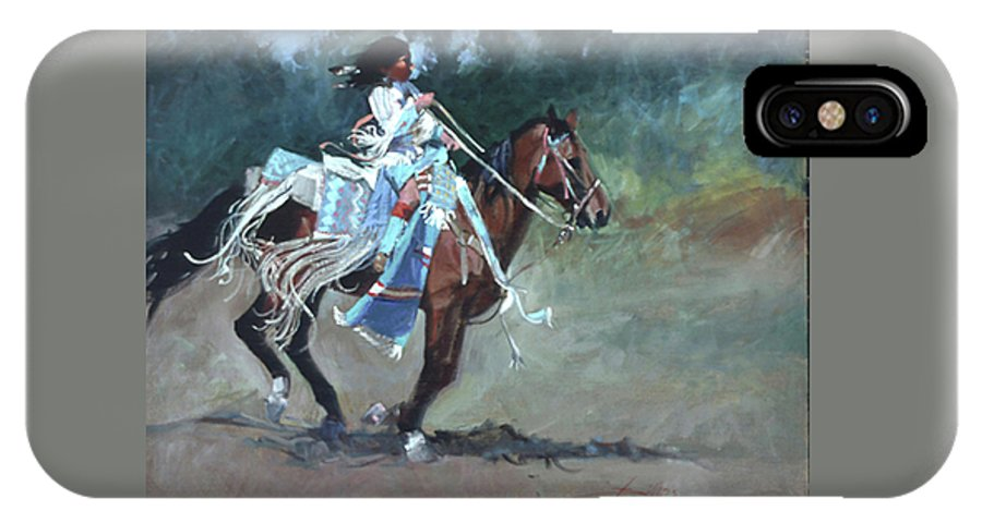Native American IPhone X Case featuring the painting Foot Loose by Betty Jean Billups