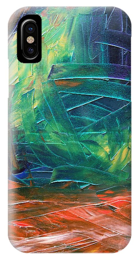 Painting IPhone X Case featuring the painting Forest.Part3 by Sergey Bezhinets