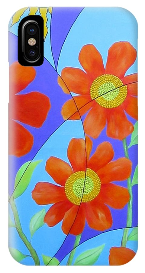 Fractal IPhone X Case featuring the painting Fractal Floral Summer by Carol Sabo