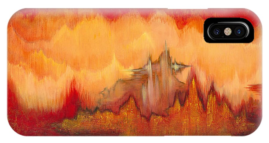Red IPhone X Case featuring the painting From the Valley by Shadia Derbyshire