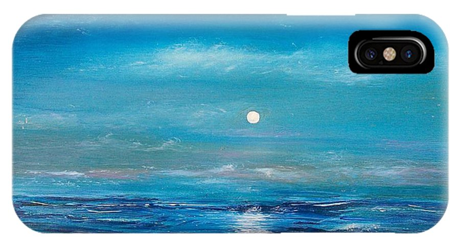 Fukk Moon Seascape IPhone X Case featuring the painting Full Moon Seascape by Tony Rodriguez