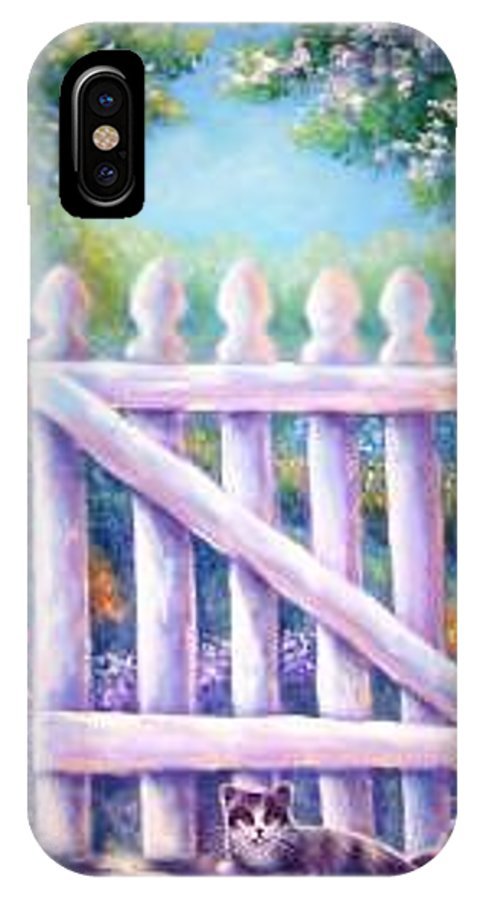 Whimsy IPhone X Case featuring the painting Garden Gate Sentry by L Risor