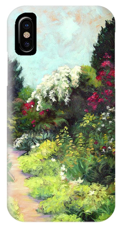 Landscape IPhone X Case featuring the painting Garden Path Giverney by Diane Martens