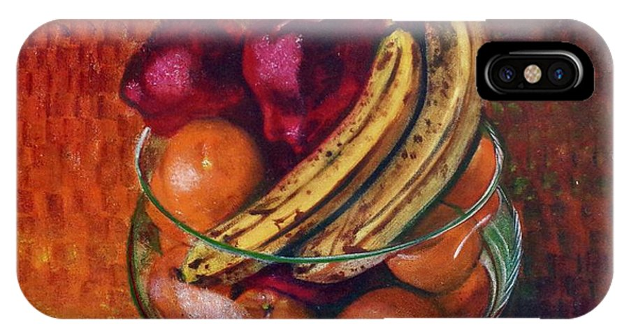 Oil Painting On Canvas IPhone X Case featuring the painting Glass Bowl Of Fruit by Sean Connolly