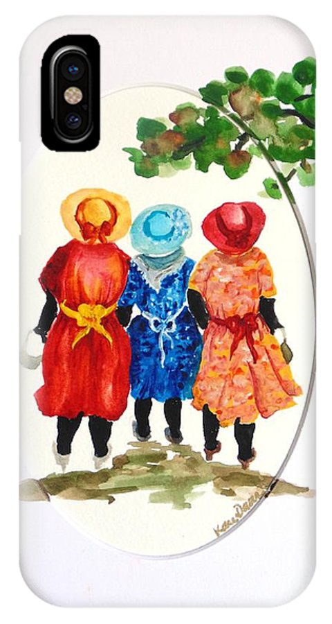 Three Women Caribbean IPhone X Case featuring the painting Going to church by Karin Dawn Kelshall- Best