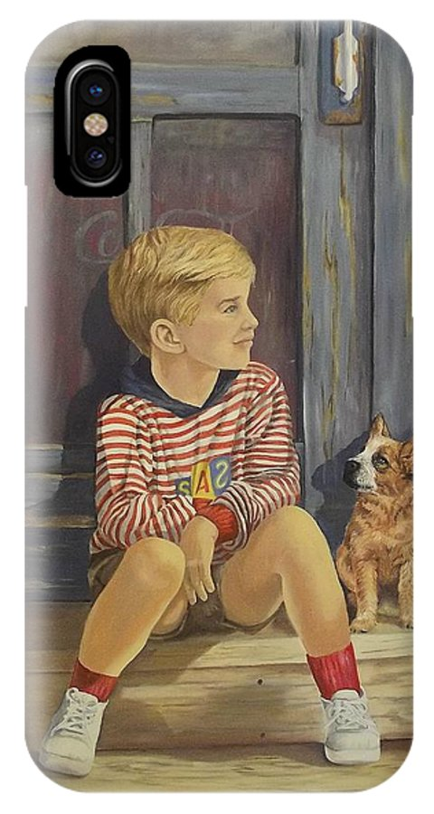 A Young Boy And His Dog IPhone X Case featuring the painting Grandpas Country Store by Wanda Dansereau