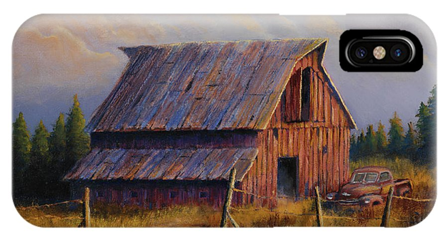 Barn IPhone X Case featuring the painting Grandpas Truck by Jerry McElroy