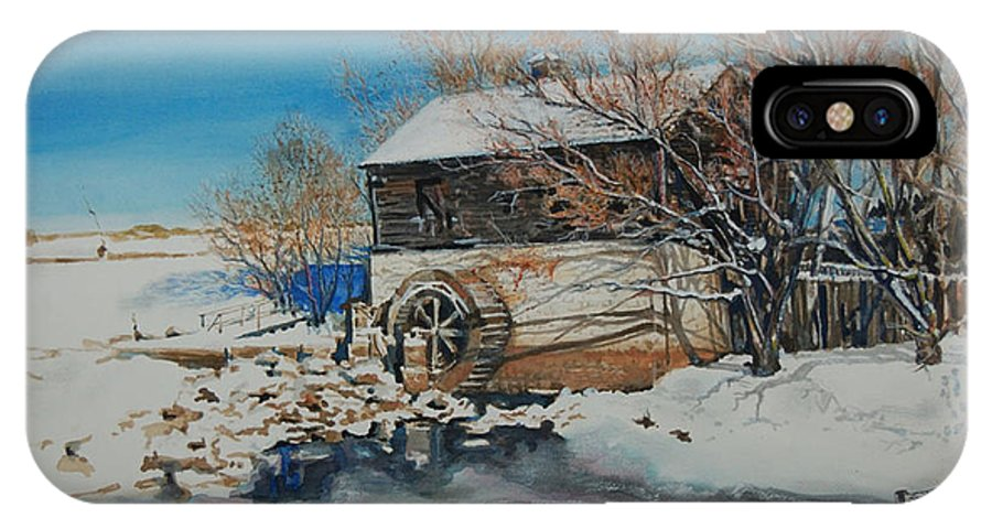 Mill IPhone X Case featuring the painting Grants Old Mill by Susan Moore