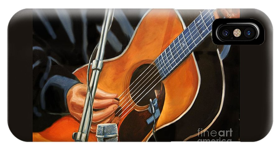 Carlos Santana IPhone X Case featuring the painting Guitar Solo by Nancy Bradley