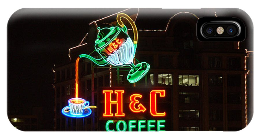 H C Coffee IPhone X Case featuring the photograph H and C Coffee Sign Pouring At Night in Roanoke Virginia by Suzanne Gaff