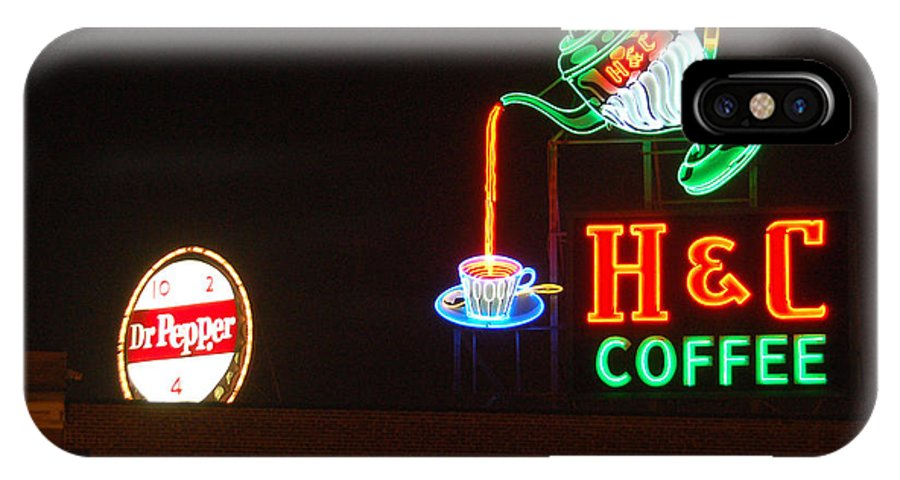 H C Coffee IPhone X Case featuring the photograph H and C Coffee Sign Roanoke Virginia by Suzanne Gaff
