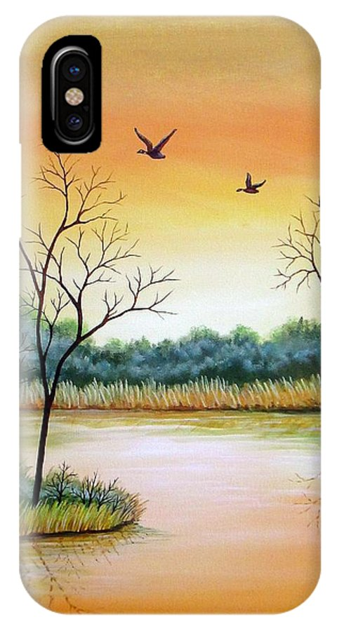 Acrylic IPhone X Case featuring the painting Heading Home by Carol Sabo