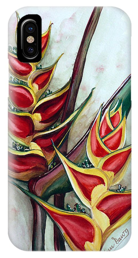 Caribbean Painting Flower Painting Floral Painting Heliconia Painting Original Watercolor Painting Of Heliconia Bloom  Trinidad And Tobago Painting Botanical Painting IPhone X Case featuring the painting Heliconia Tropicana Trinidad by Karin Dawn Kelshall- Best