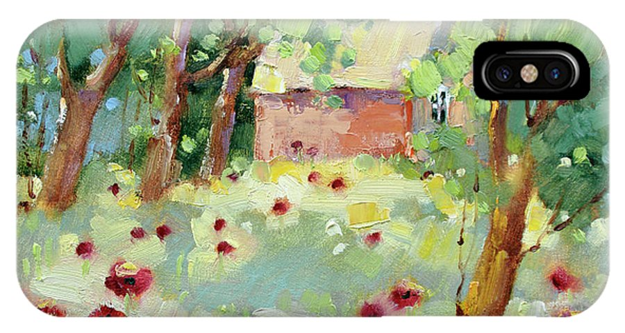 Impressionism IPhone X Case featuring the painting Hidden Cottage Poppies by Joyce Hicks