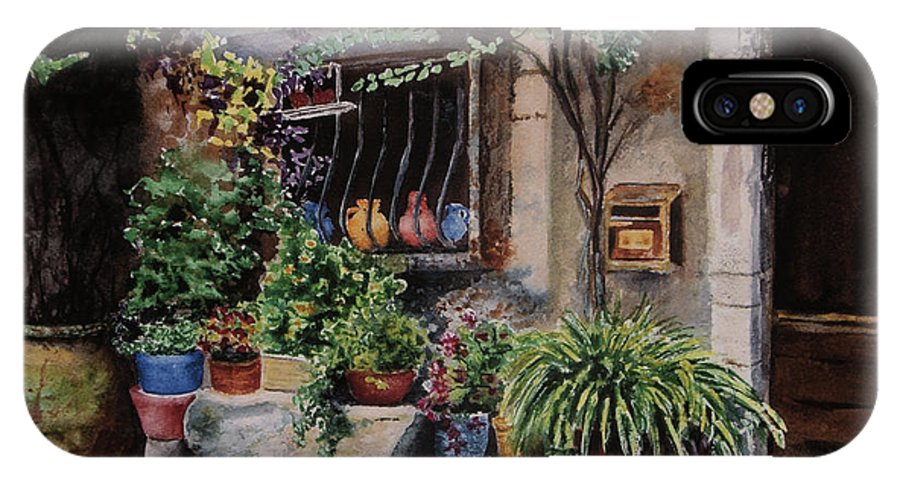 Courtyard IPhone X Case featuring the painting Hidden Courtyard by Karen Fleschler