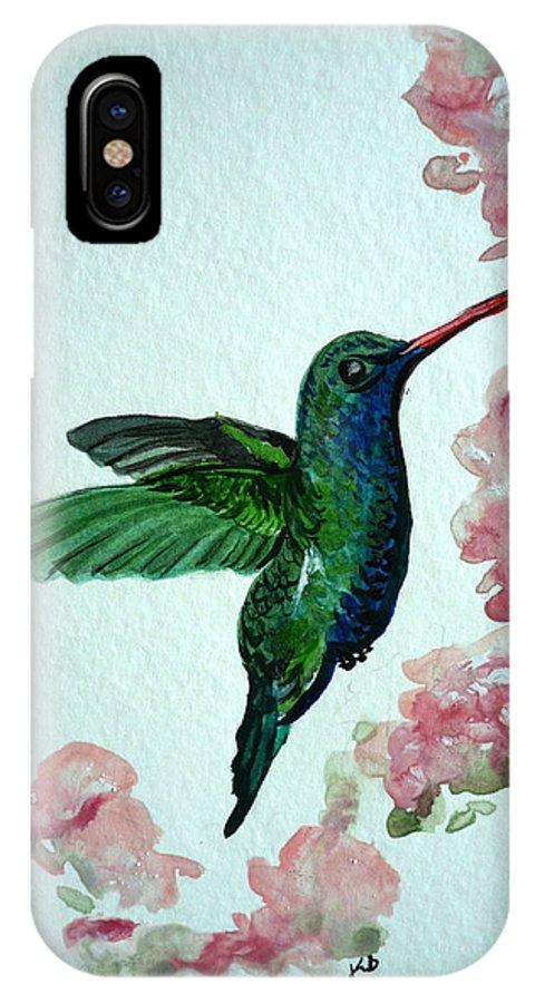 Hummingbird Painting Tropical Bird Green Bird Painting IPhone X Case featuring the painting Hummingbird 4 by Karin Dawn Kelshall- Best