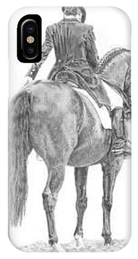 Dressage IPhone X Case featuring the drawing Intermediate by Laura Smith