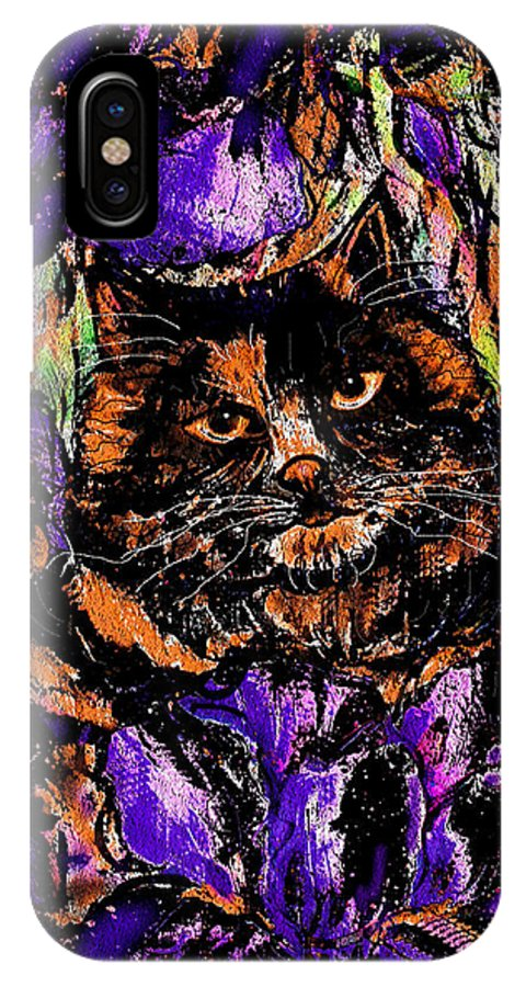 Cat IPhone X Case featuring the painting Iris by Natalie Holland