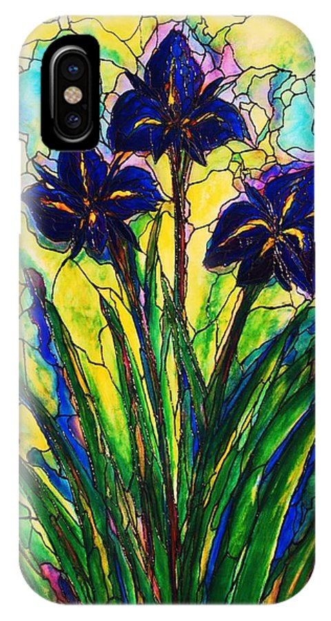 Original Art IPhone X Case featuring the painting Irises by Rae Chichilnitsky
