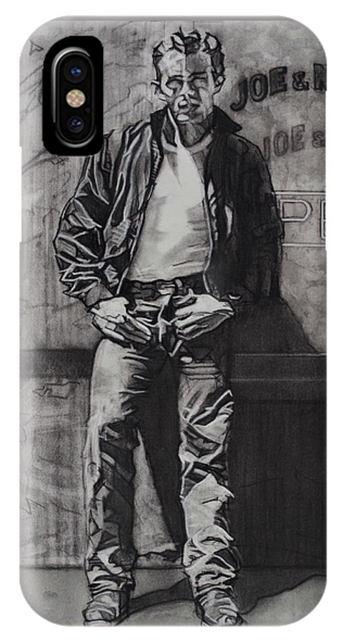 Charcoal On Paper IPhone X Case featuring the drawing James Dean by Sean Connolly