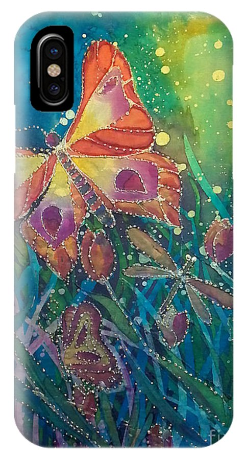Silk Painting IPhone X Case featuring the painting Jeweled Butterfly Fantasy by Francine Dufour Jones