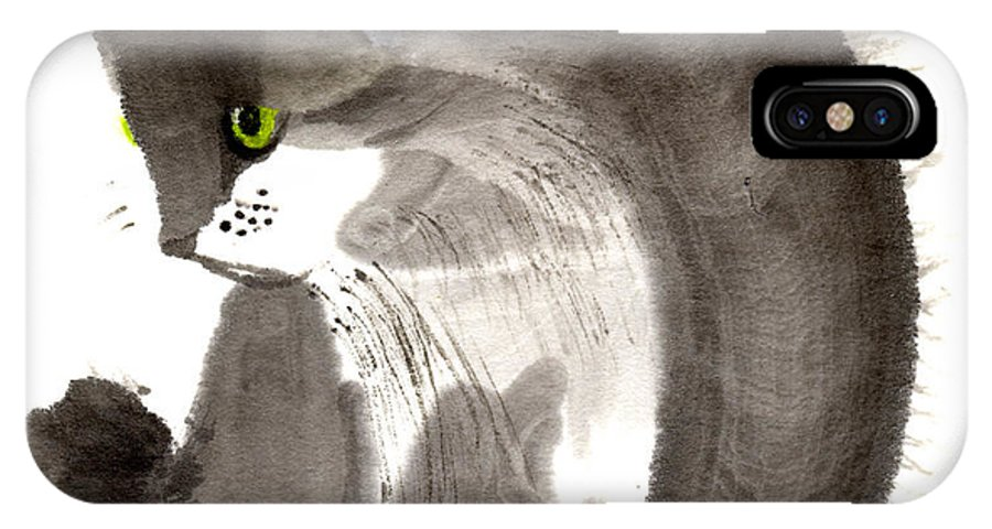 A Kitten Is Looking Attentively. This Is A Contemporary Chinese Ink And Color On Rice Paper Painting With Simple Zen Style Brush Strokes.  IPhone X Case featuring the painting Kitten by Mui-Joo Wee