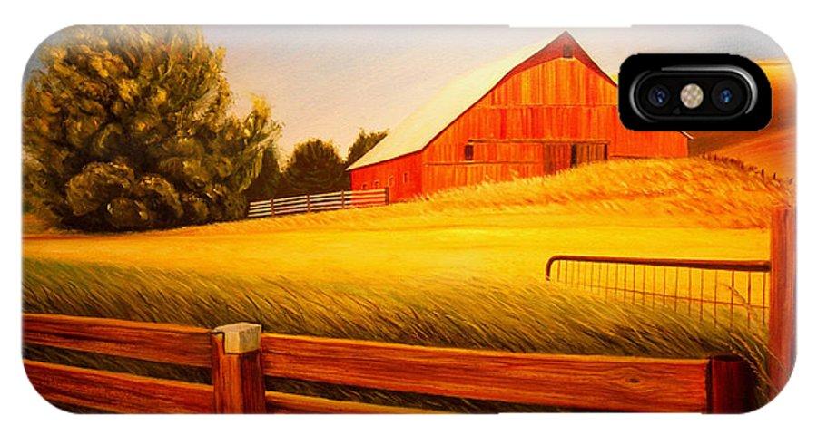 Wheat IPhone X Case featuring the painting La Crosse Barn by Leonard Heid