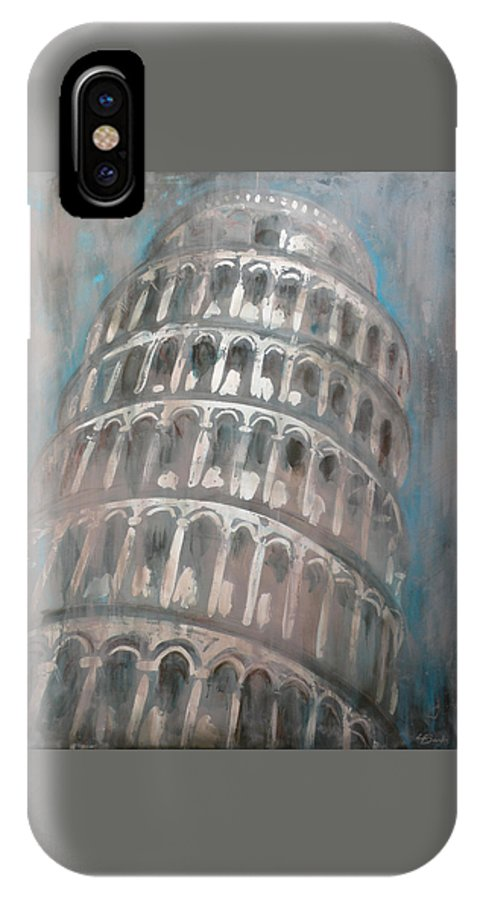 Leaning Tower Of Pisa IPhone X Case featuring the painting La Torre di Pisa by Leigh Banks