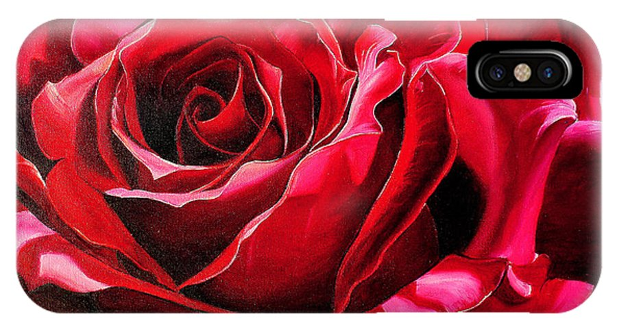 Rose Painting IPhone X Case featuring the painting Labelle Rose    by Karin Dawn Kelshall- Best