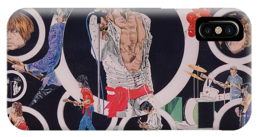 The Rolling Stones IPhone X Case featuring the drawing Ladies And Gentlemen - The Rolling Stones by Sean Connolly