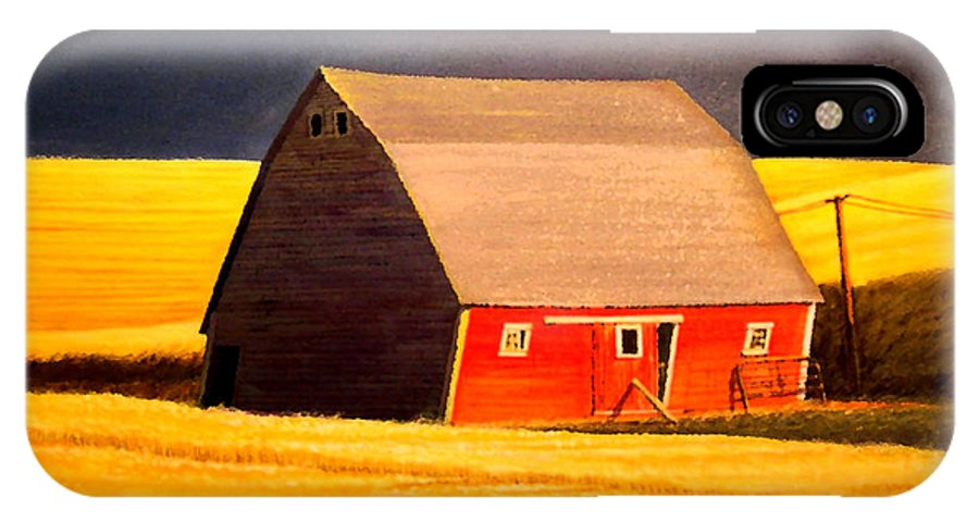 Barn IPhone X Case featuring the painting Leans to the Right by Leonard Heid