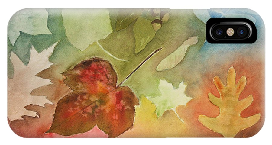 Leaves IPhone X Case featuring the painting Leaves V by Patricia Novack