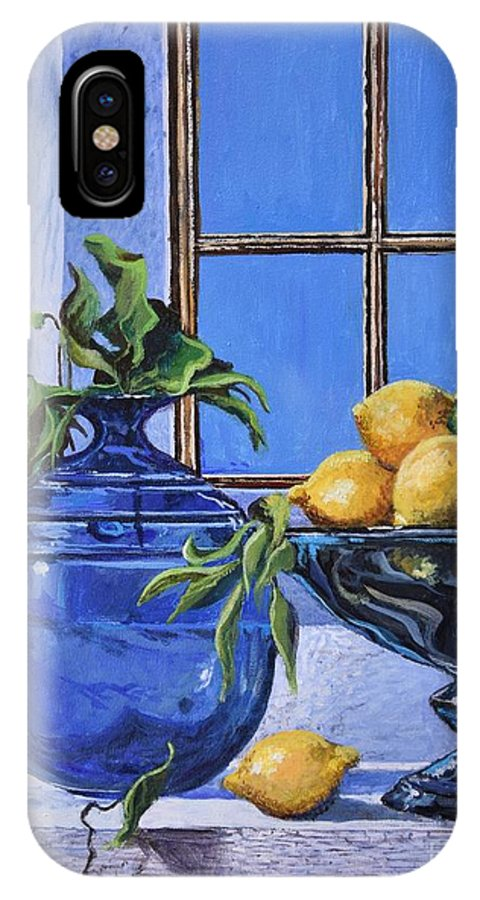 Original Painting IPhone X Case featuring the painting Lemons by Sinisa Saratlic
