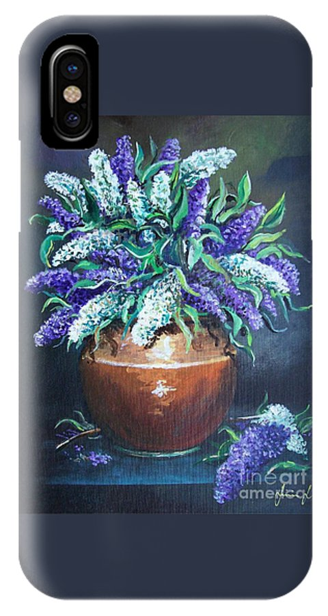 Original Painting IPhone X Case featuring the painting Lilac by Sinisa Saratlic