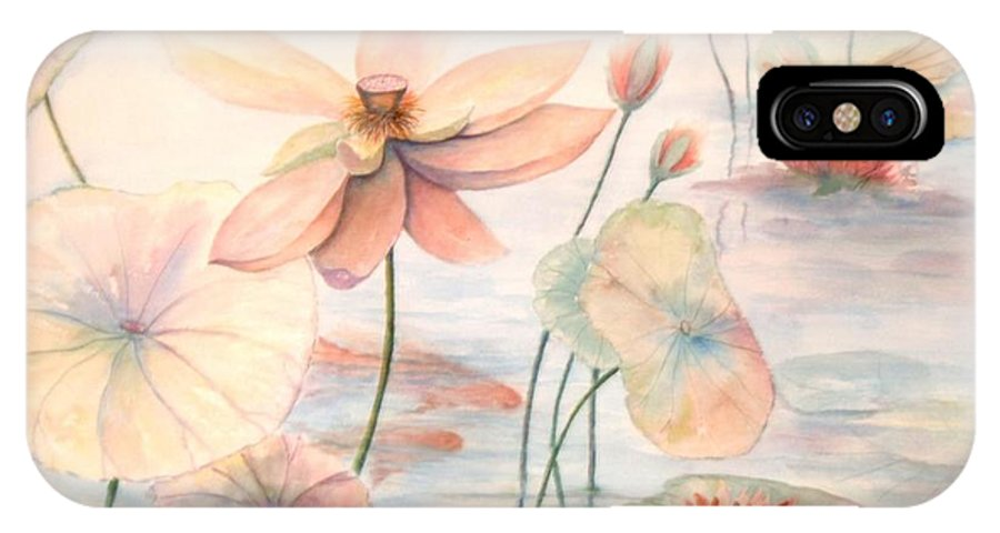 Lily Pads And Lotus Blossoms IPhone X Case featuring the painting Lily Pads by Ben Kiger