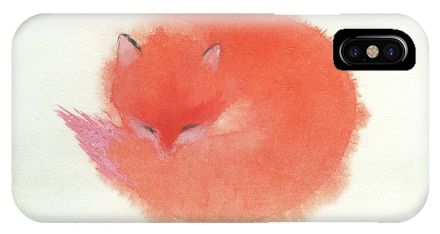 A Red Fluffy Little Fox Curls Up To Sleep In The Snow. It's A Simple Chinese Contemporary Brush Painting On Rice Paper. IPhone X Case featuring the painting Little Fox by Mui-Joo Wee